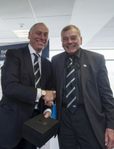 Dickie Bird presents Colin Graves with his YCCC Retirement Trophy