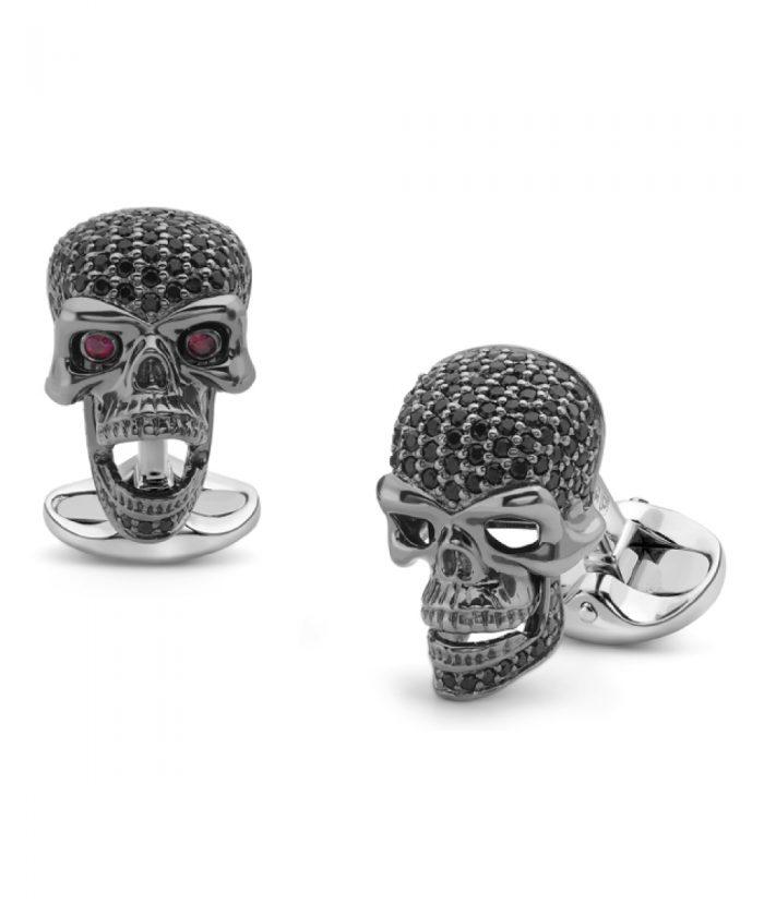 Deakin & Francis Black Spinel Skull Cufflinks