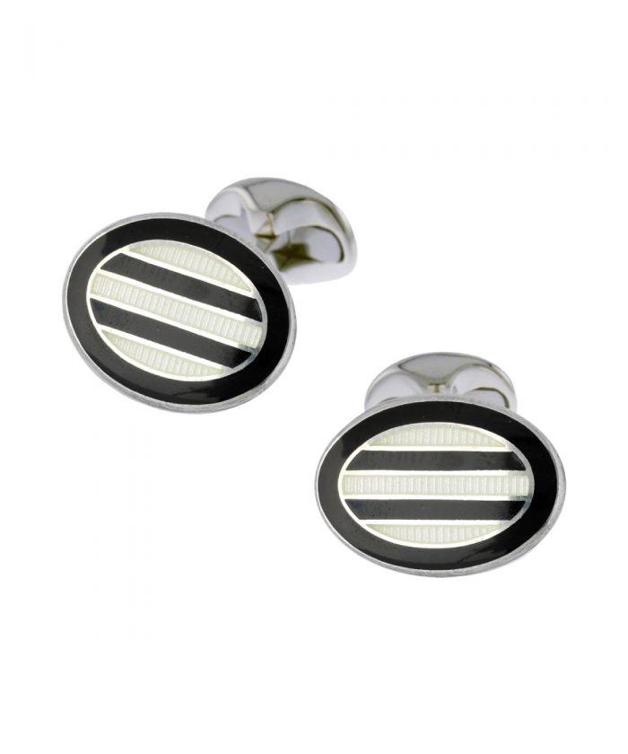 Deakin & Francis Black & White Oval Cufflinks