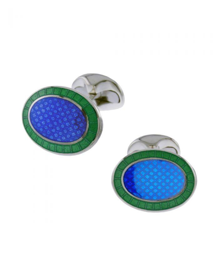 Deakin & Francis Blue & Green Oval Cufflinks