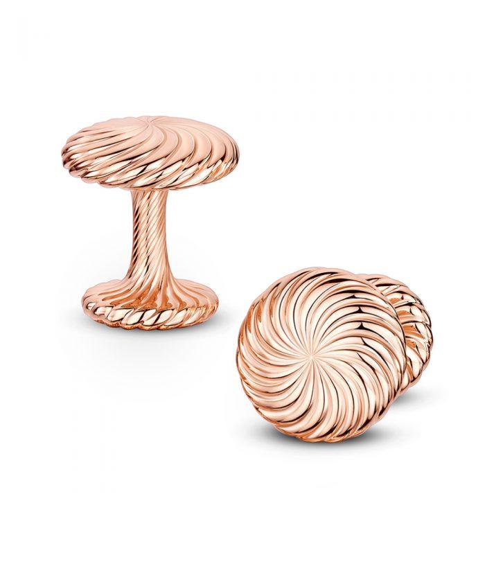 Andrew Geoghegan Rose Gold Cannelé Twist Cufflinks