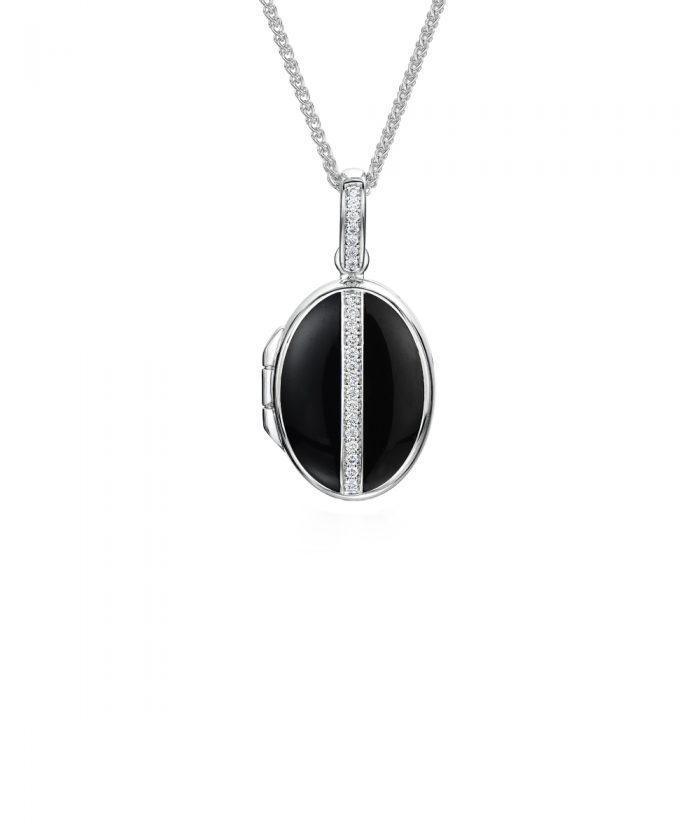 Luxury Black White Gold Diamond Locket