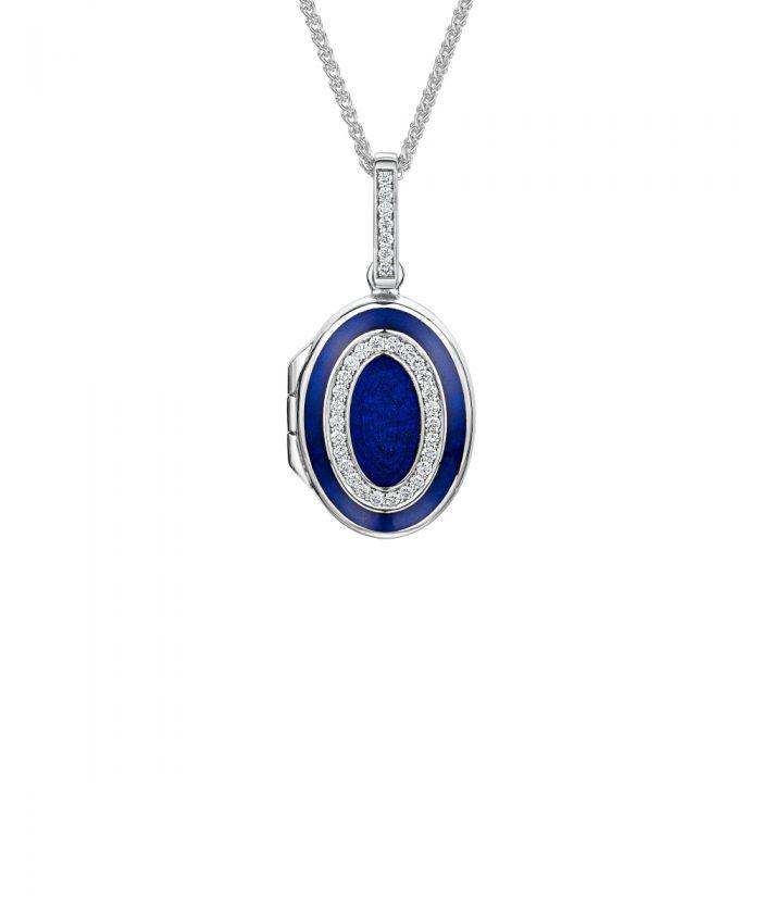 Luxury White Gold Diamond & Blue Enamel Locket