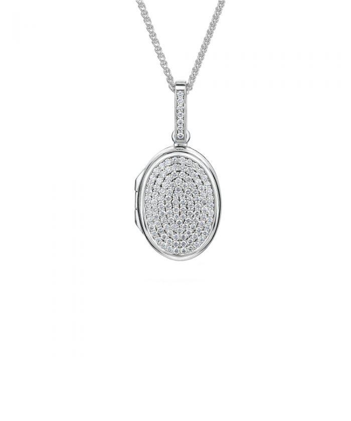 Luxury White Gold Pavé Diamond Locket