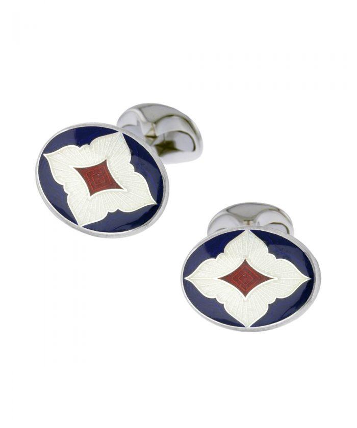Deakin & Francis Red & Blue Quatrefoil Cufflinks