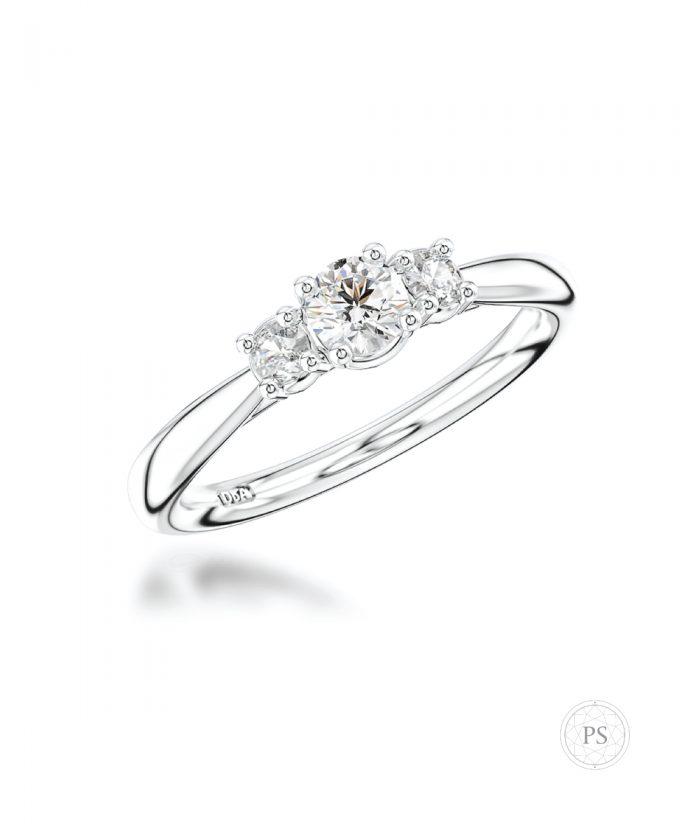 0.20ct Round Diamond Classic Trilogy Ring