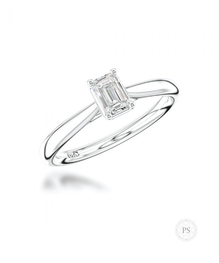0.30ct Emerald Cut Diamond Classic Solitaire Ring