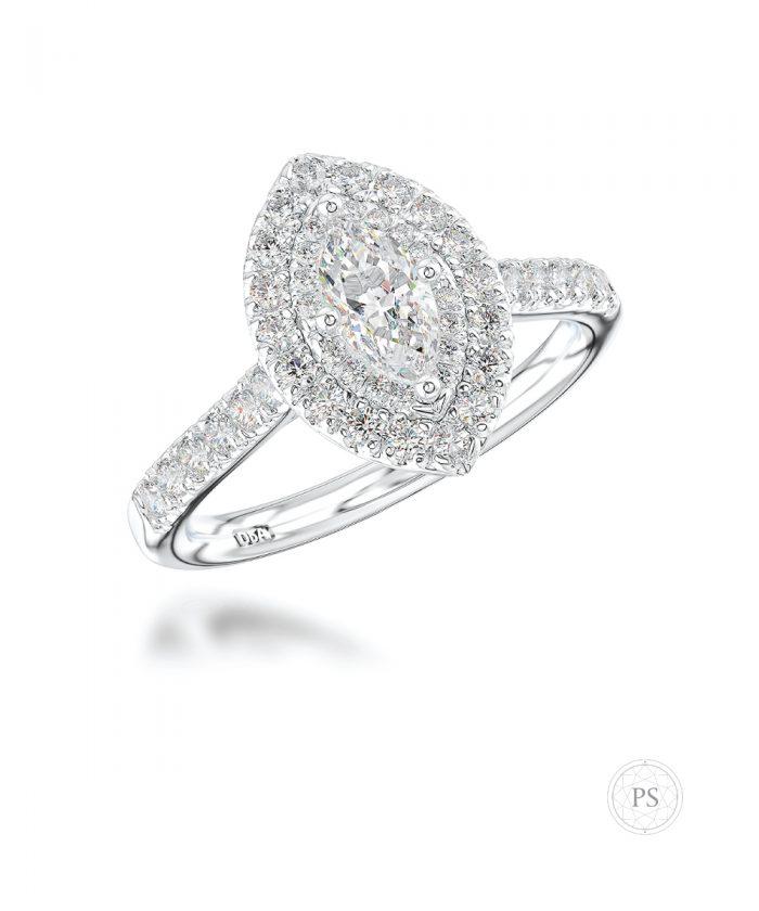 0.30ct Marquise Illusion Halo Diamond Ring