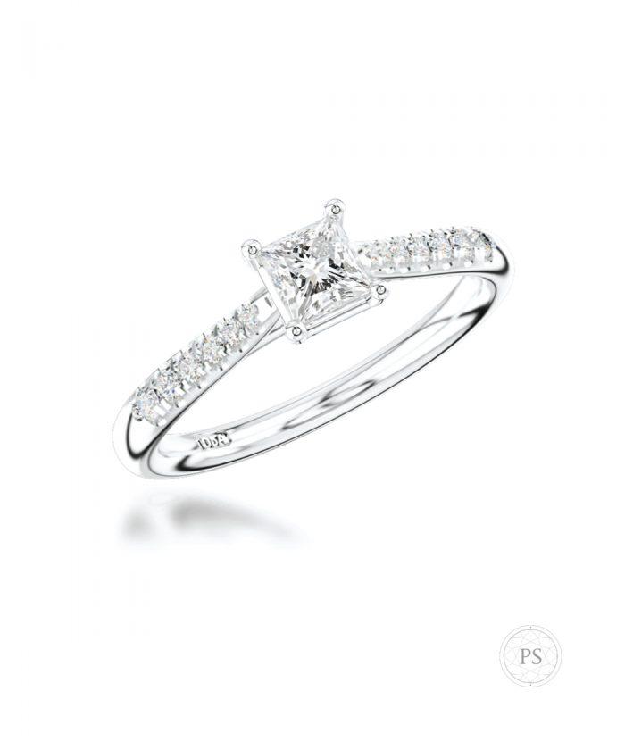 0.30ct Princess Cut Scallop Set Solitaire Ring