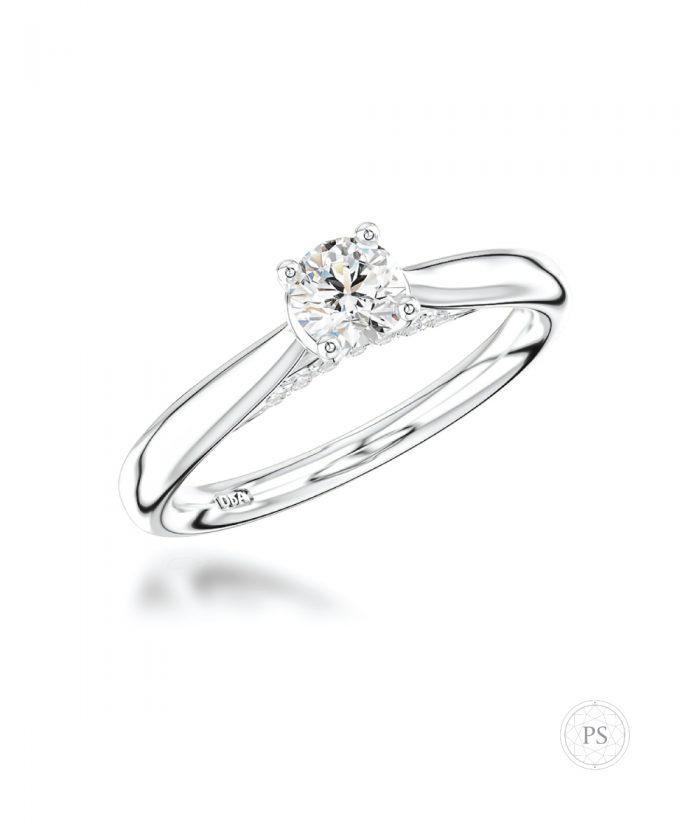 0.30ct Round Brilliant Hidden Diamond Solitaire Ring