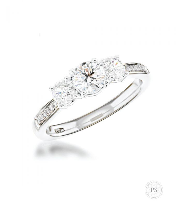0.30ct Round Diamond Pavé Set Trilogy Ring
