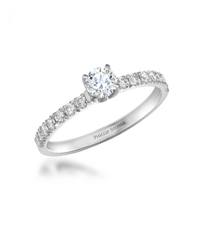 0.40ct Round Brilliant Scallop Set Engagement Ring