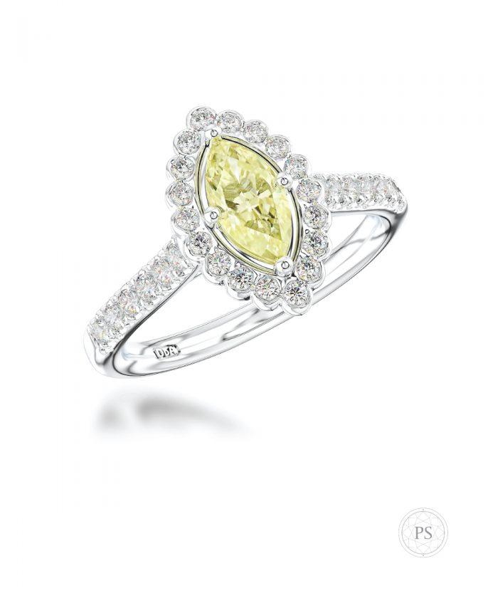 0.50ct Marquise Cut Yellow Diamond Halo Ring