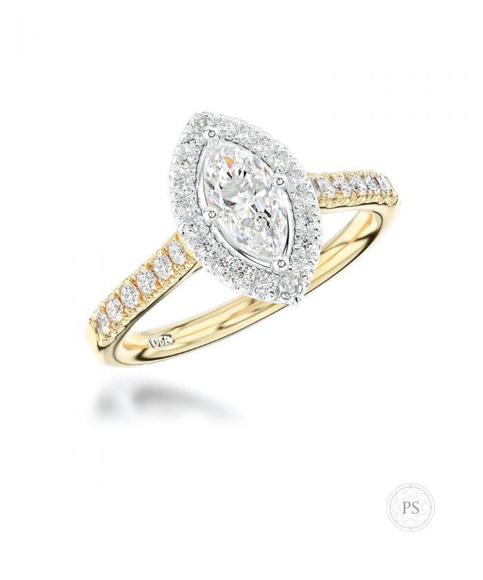 0.50ct Marquise Diamond Yellow Gold Halo Ring