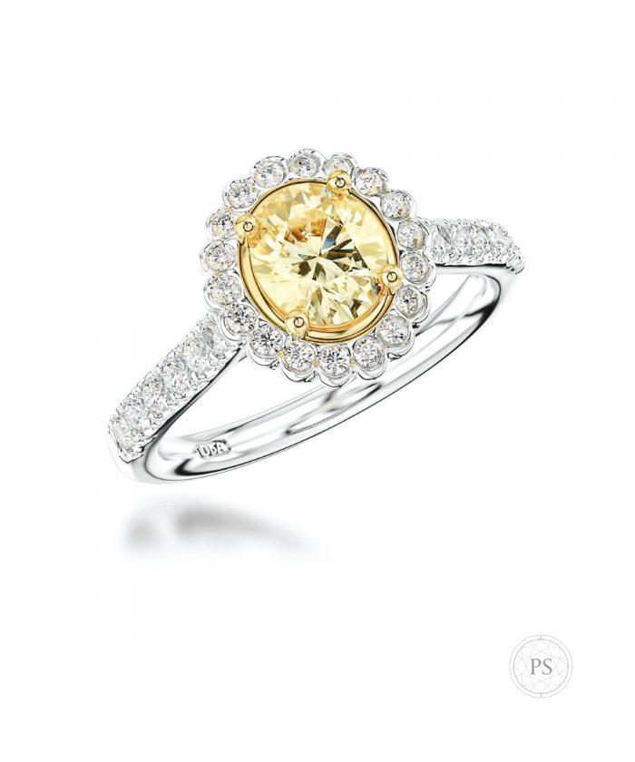 0.50ct Oval Yellow Diamond Halo Engagement Ring
