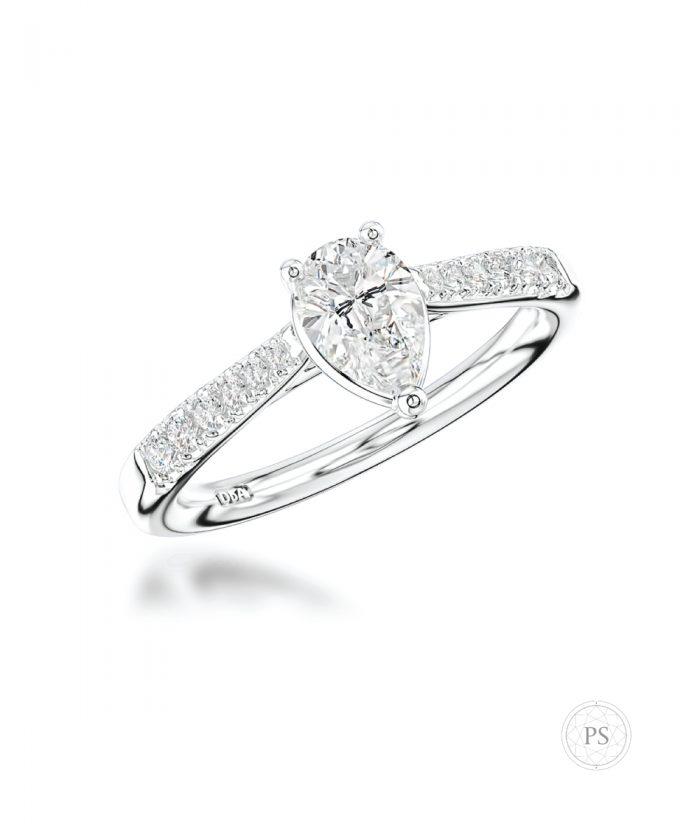 0.50ct Pear Cut Diamond Scallop Set Ring