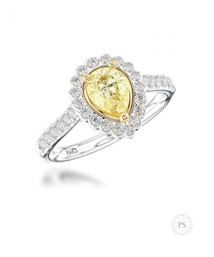 0.50ct Pear Cut Yellow Diamond Cluster Ring