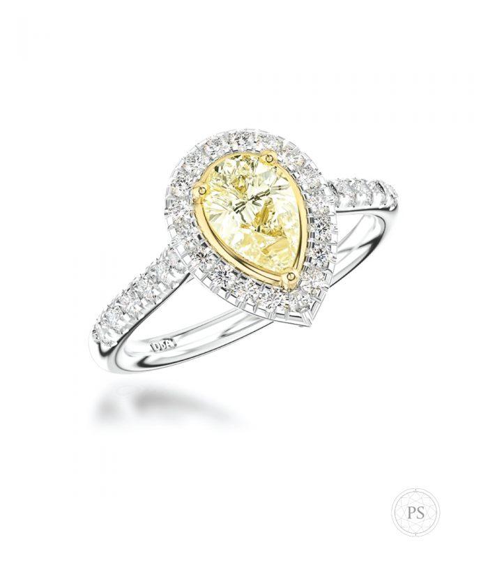 0.50ct Pear Cut Yellow Diamond Scallop Halo Ring