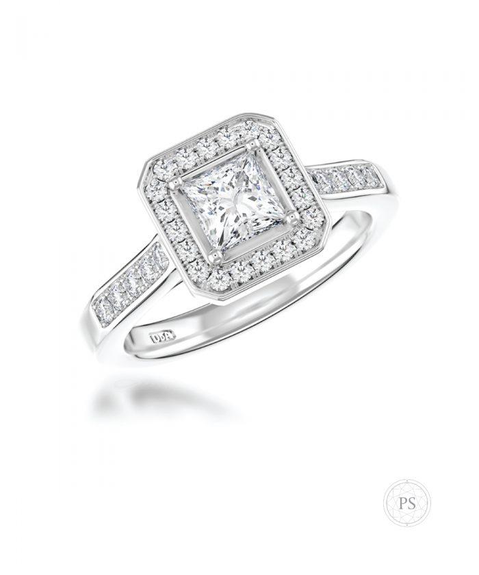 0.50ct Princess Cut Diamond Cluster Ring