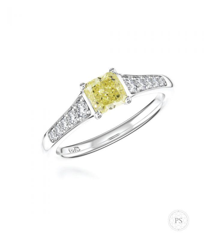 0.50ct Radiant Cut Yellow Diamond Tapered Ring