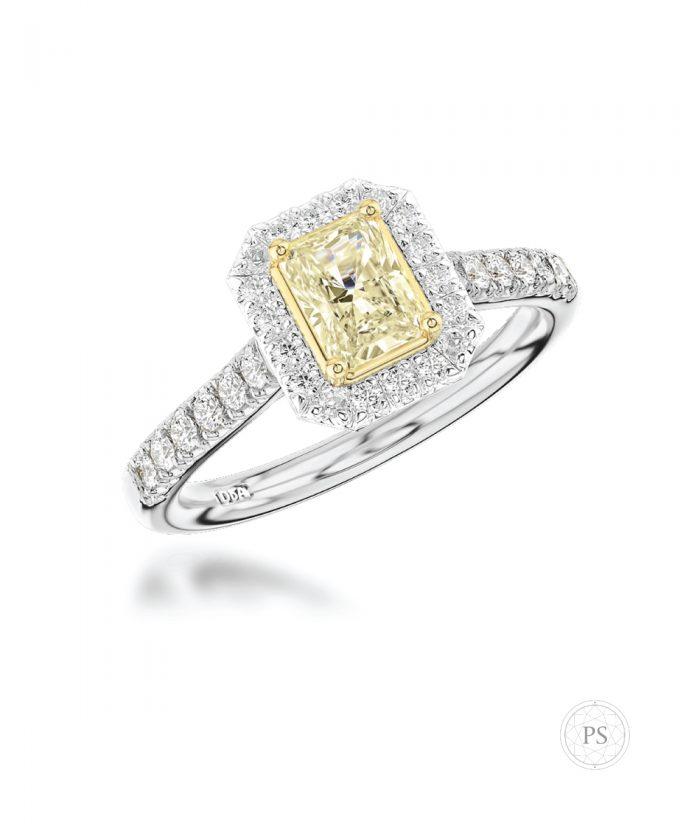 0.50ct Radiant Yellow Diamond Halo Ring