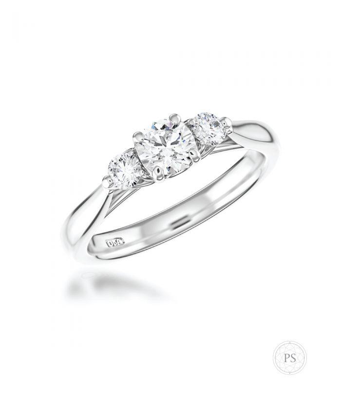 0.50ct Round Diamond Tulip Three Stone Ring