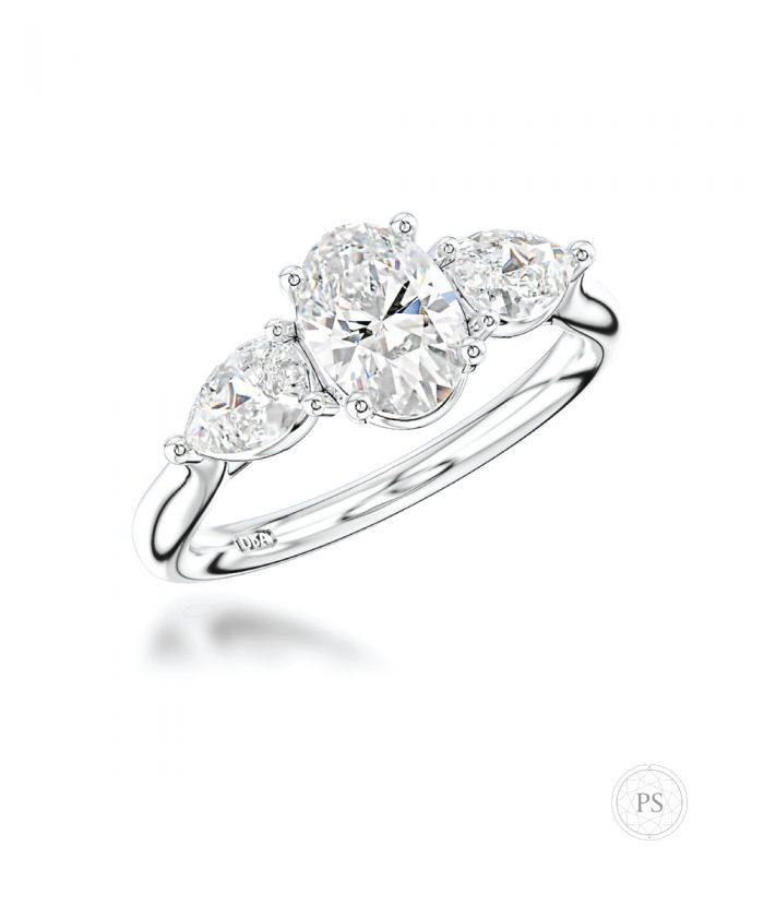 0.70ct Oval & Pear Cut Diamond Trilogy Ring