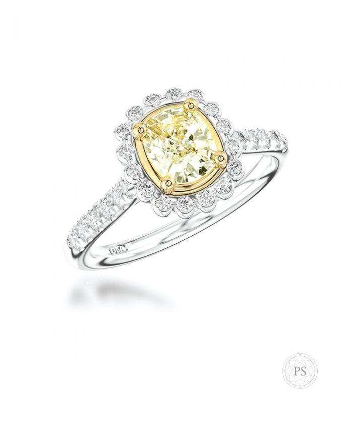 0.80ct Cushion Cut Yellow Diamond Cluster Ring