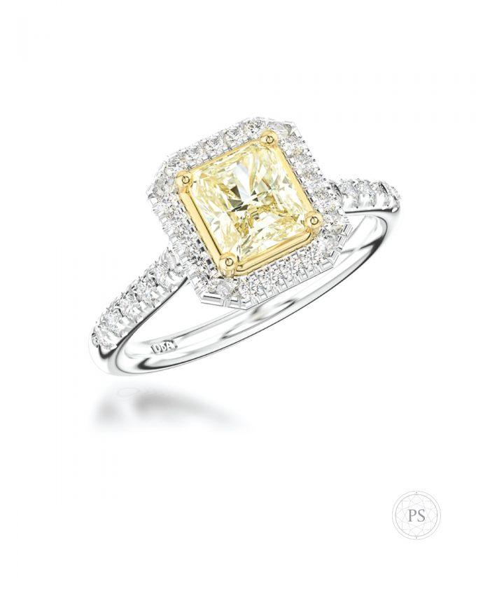 1ct Radiant Yellow Diamond Halo Ring