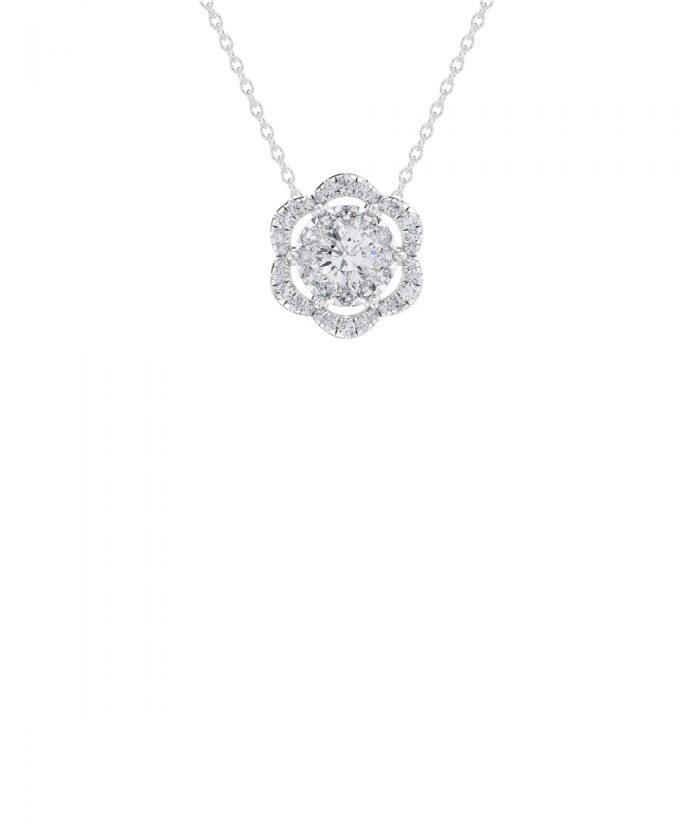 Allium Platinum Diamond Flower Pendant