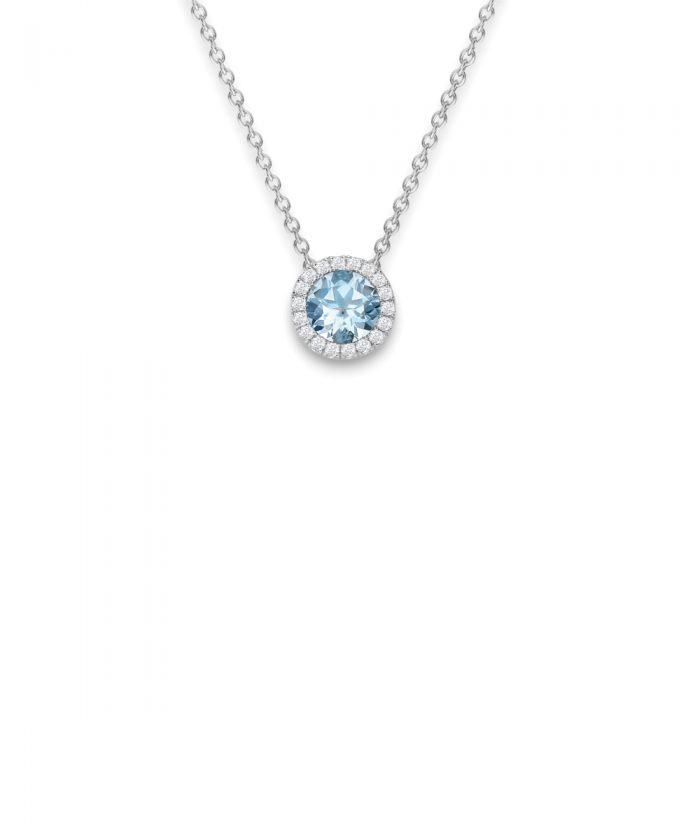Aquamarine & Diamond Halo Pendant