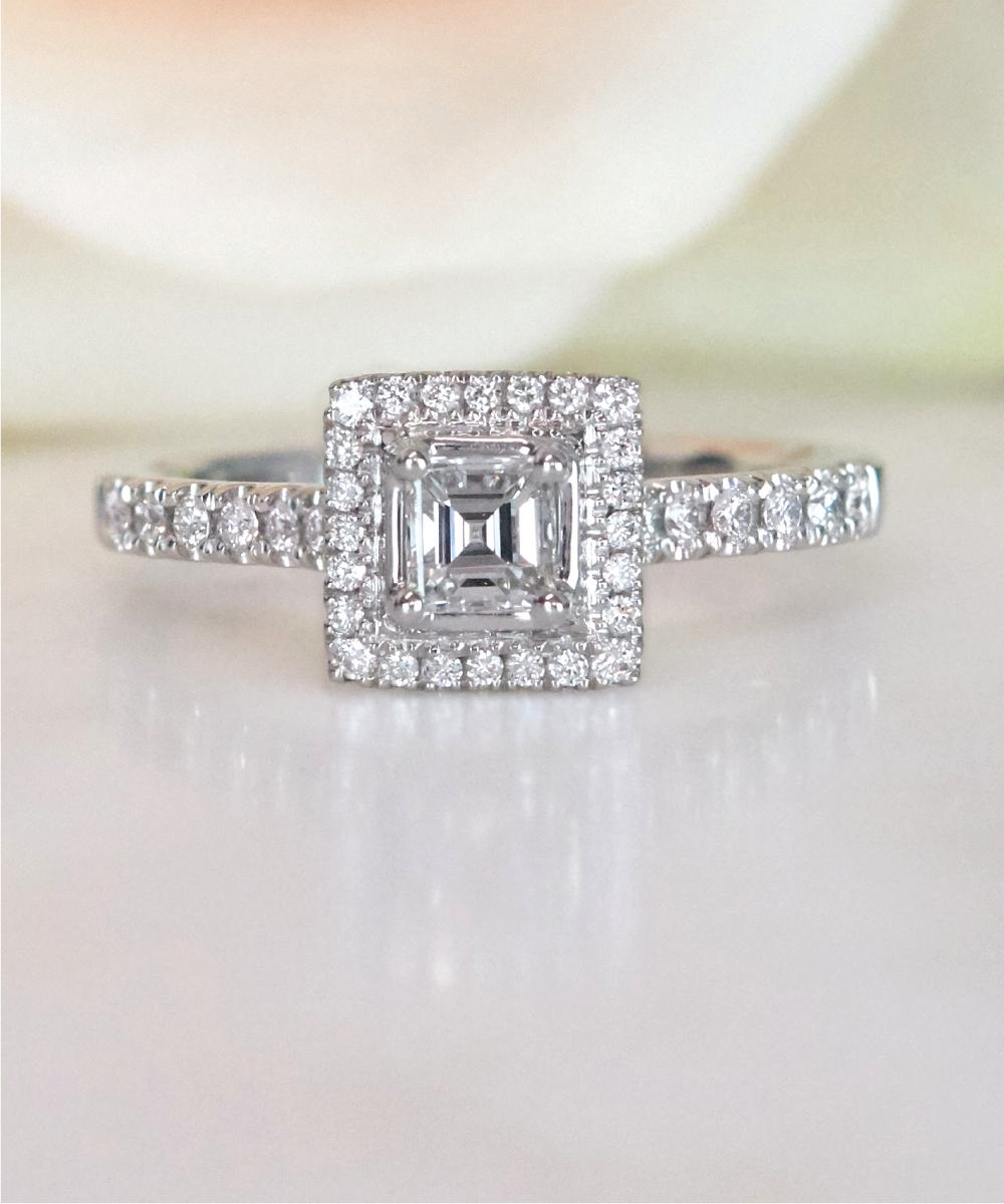 Asscher Cut Diamond Halo Engagement Ring