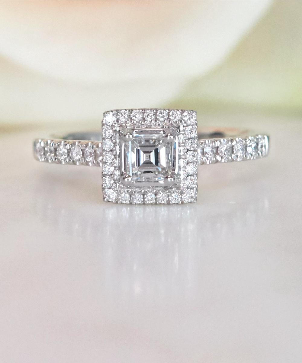 Asscher Cut Diamond Halo Ring