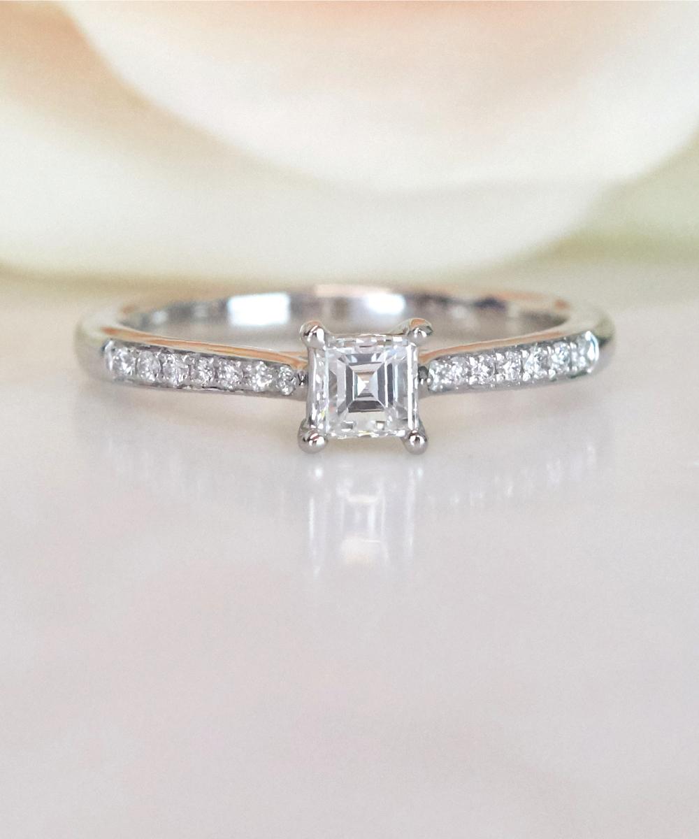 Asscher Cut Diamond Solitaire Engagement Ring