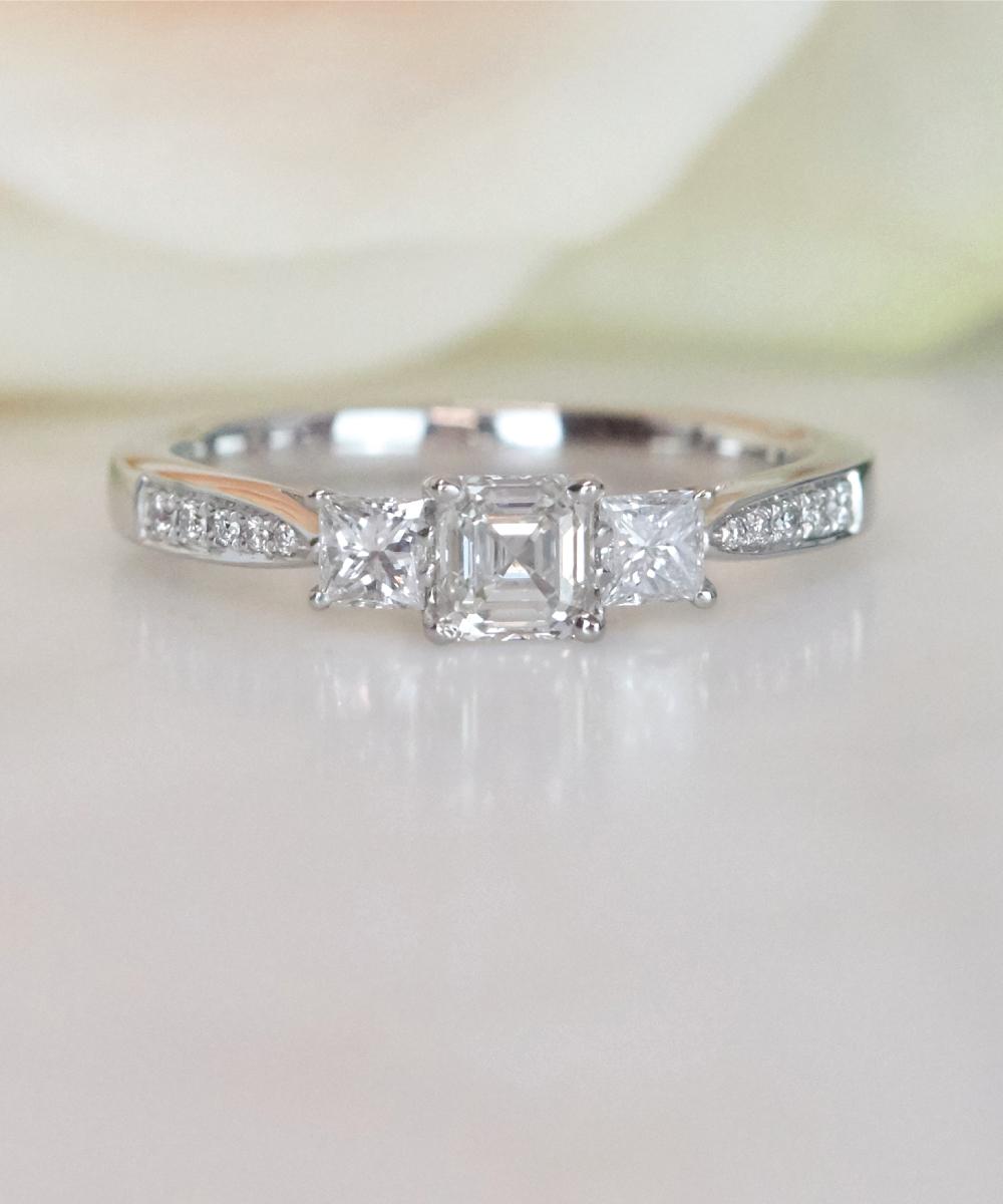 Asscher Cut Diamond Trilogy Ring