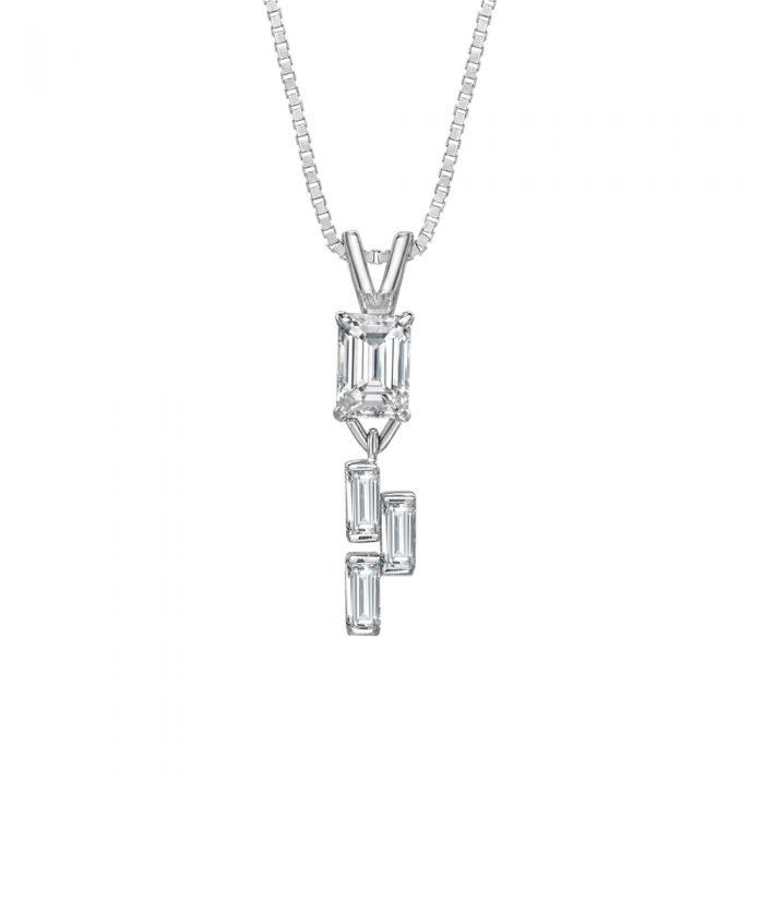 Ava Emerald Cut Diamond Pendant, Phillip Stoner Exclusive