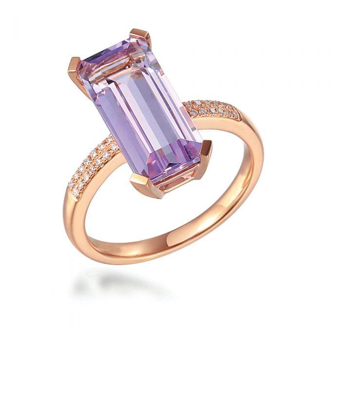 Baguette Amethyst & Diamond Cocktail Ring