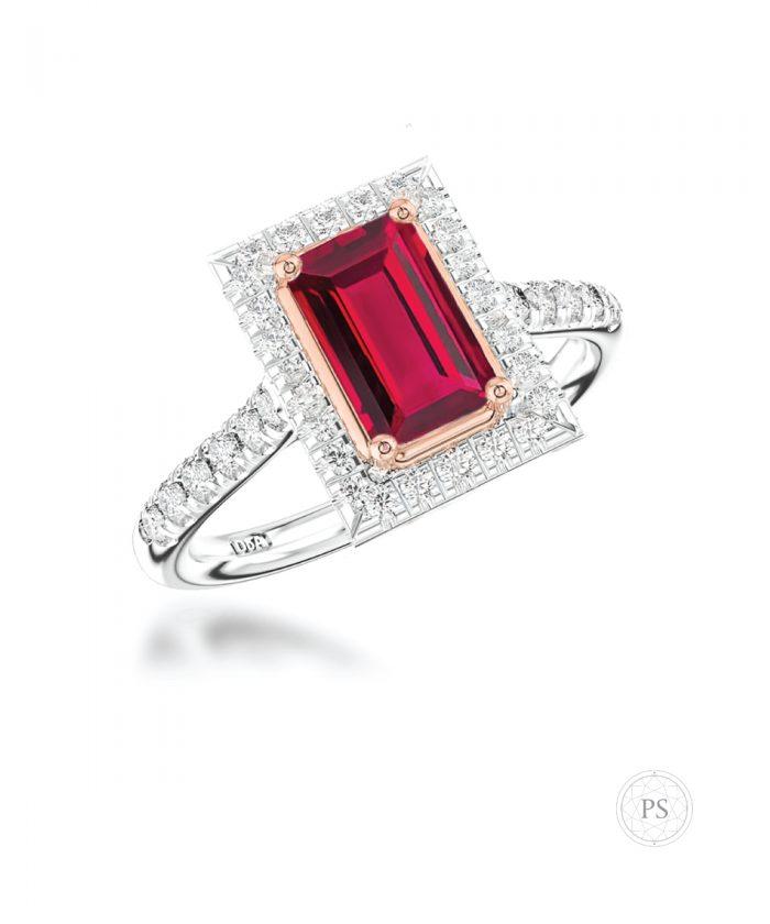 Baguette Cut Ruby & Diamond Halo Engagement Ring