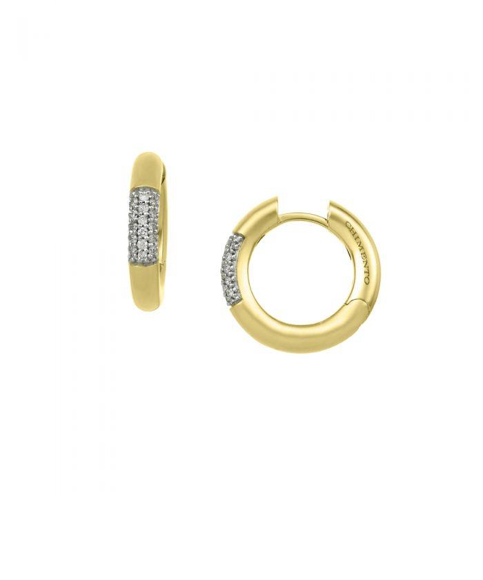 Chimento Bamboo Pure Gold & Diamond Hoop Earrings