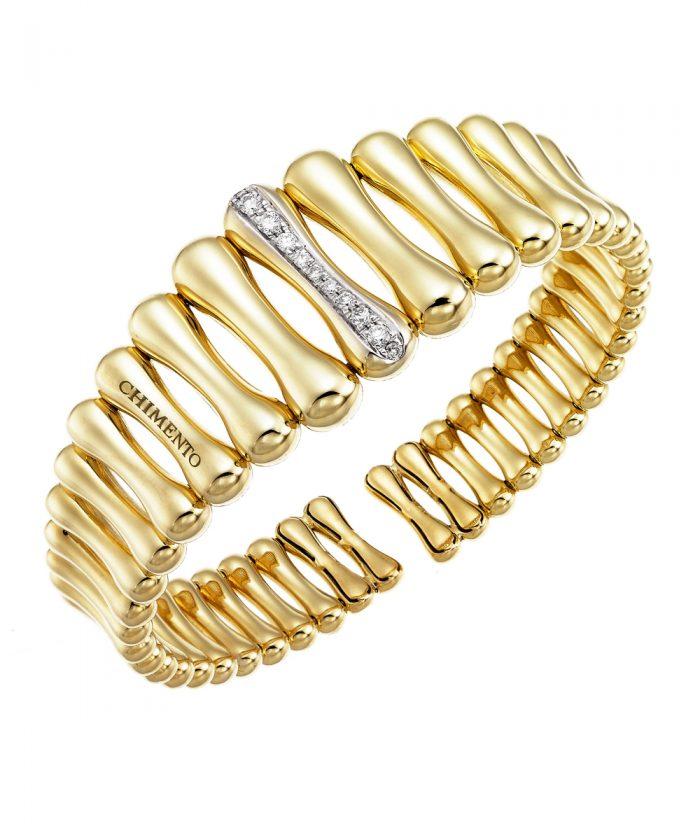 Chimento Bamboo Over Gold & Diamond Cuff