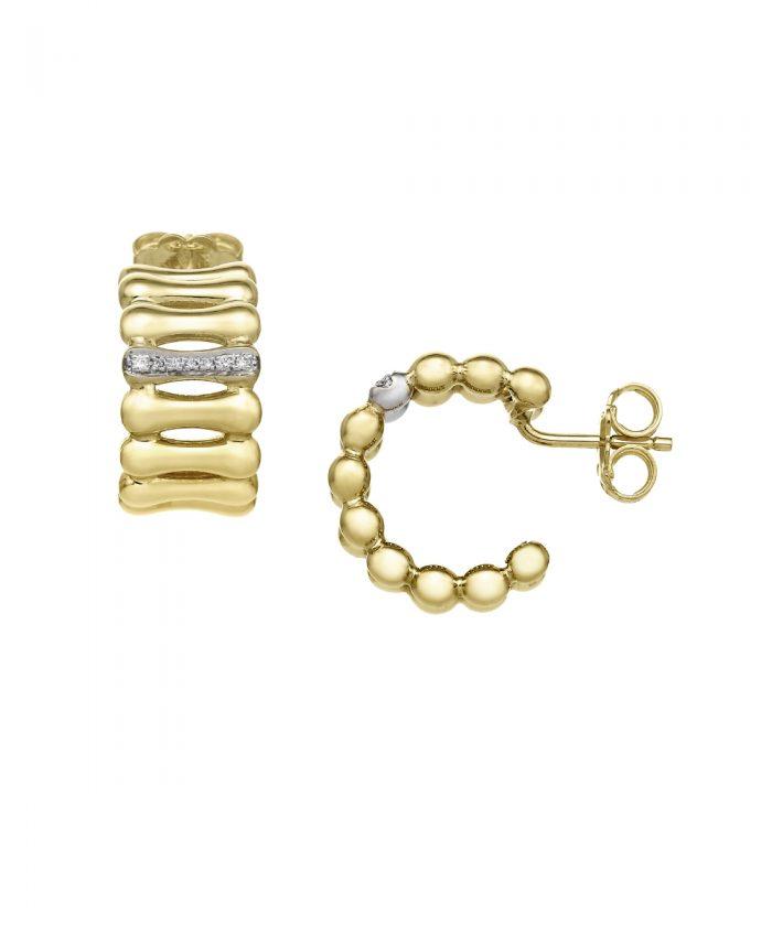 Chimento Bamboo Over Gold & Diamond Hoop Earrings