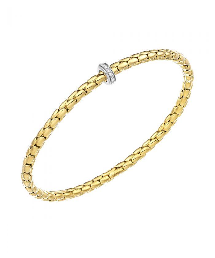 Chimento Yellow Gold Diamond Spring Stretch Bracelet