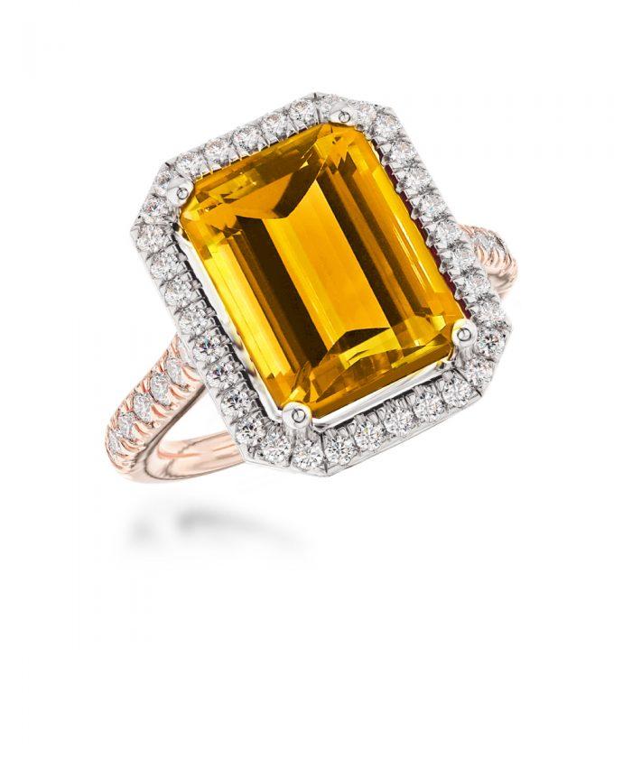 Citrine & Diamond Thea Cocktail Ring
