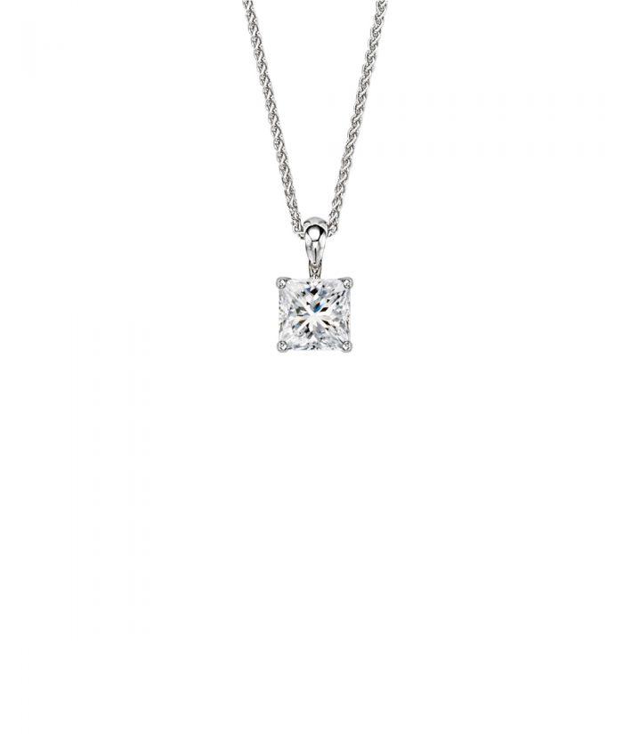 Classic Princess Cut Diamond Pendant