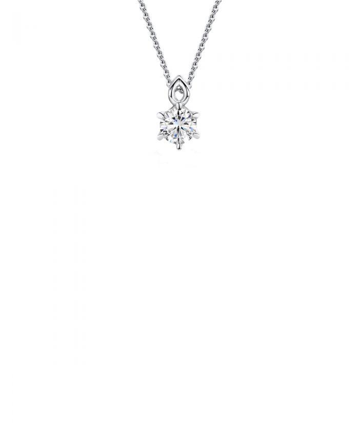 Classic Six-Claw Diamond Pendant
