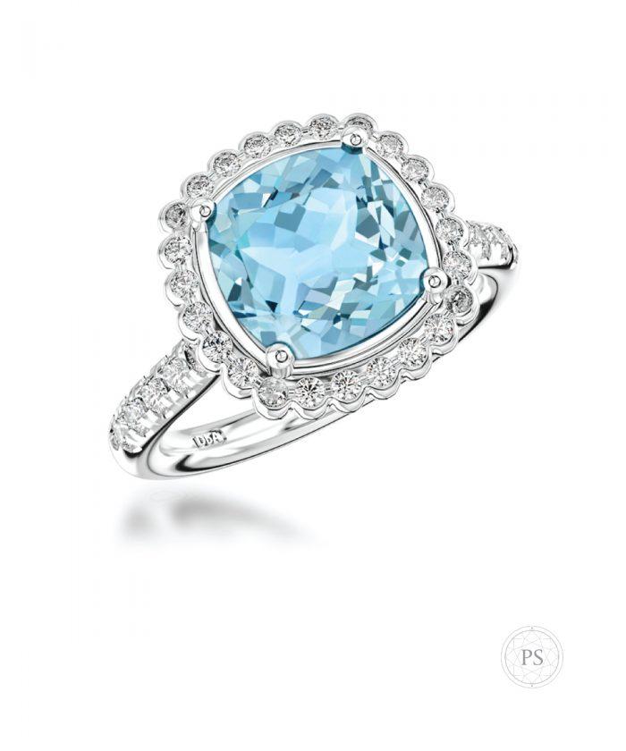 Cushion Cut Aquamarine & Diamond Statement Cocktail Ring