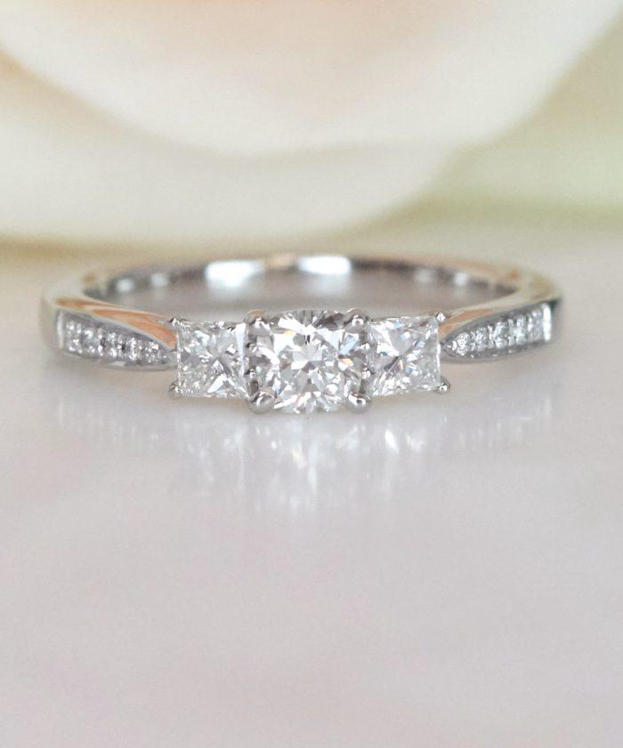 Cushion Cut Trilogy Engagement Ring