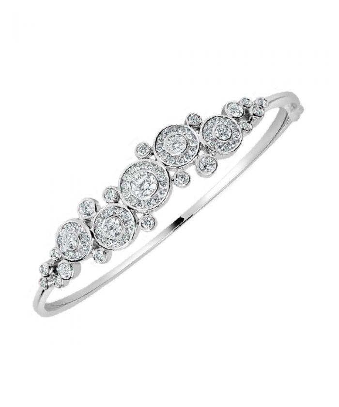 White Gold Dew Drop Diamond Bangle