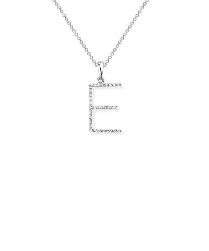 Diamond Letter E Charm Pendant