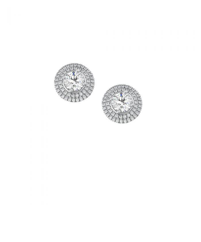 Double Halo Diamond Stud Earrings
